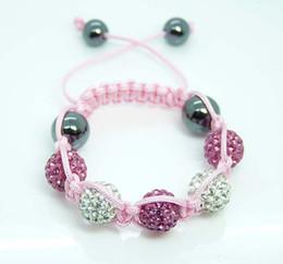 New style Fashion Kids 10mm Crystal Disco Ball Bracelet Children Friendship Bracelet Pink White Mixed 12pcs Hot
