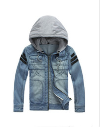 Wholesale Men s Hoodie Jeans Jacket coat outerwear hooded Winter coat hoodie denim jacket JK09