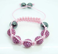 Wholesale Hot Cute Children Style MM Disco Ball Pink Crystal Beads friendship Bracelets