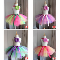 Wholesale New Rainbow Ballet Tutu Part Skirt Girl Fluffy Pettiskirts Girls Tutu Skirts Croche Flower Hairband