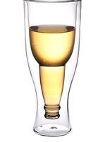 Beer Steins glass milk bottle - Upside Down Beer Bottle Shaped Double Wall Double deck Glass Green Tea Cup Milk Cup Beer Stein Drinkware