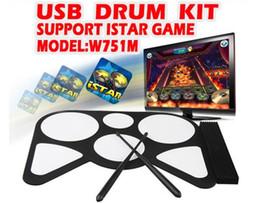 Ensembles de batterie en Ligne-2012 Date kit jeu USB de tambour W751 Mini MIDI tambour Portable tambour MIDI Electronic Drum set tambour à main