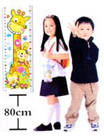 Compra El crecimiento en altura los niños-Nave libre 20pcs niños de la historieta medir la altura Regla Carta de crecimiento de 80cm-150cm Etiqueta etiquetas caseras
