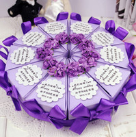 Favor Boxes Purple Paper European Candy Box+Card+Glue Gun+Stick Ribbon Flower Bow Wedding Birthday Party (30pcs 3Lots)