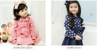 Girl 4T-5T 100 110 120 130 140 New Design Fashion Autumn Cute Baby girl polka dot skirt set Girls pink blue coat + skirt clothing