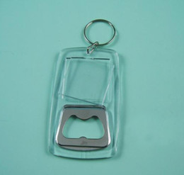 BlANK ACRYLIC RECTANGLE BOTTLE OPENER KEYCHAINS LITE BEER METAL INSERT PHOTO FREE SHIPPING