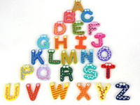 Wholesale Cute Wood Wooden Fridge Magnets Sticker set Letters Alphabet