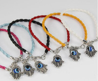 Wholesale 10pcs Leather Cord Bracelet with Silver Hamsa Hand of Fatima and Blue Evil Eye