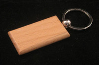 Wholesale Blank Wooden Key Chain Rectangle Key ring Free Ship
