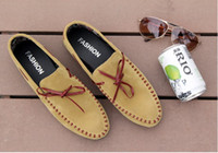 Slip-On pvc leather car - Fashion Leisure seude Leather Mens Comfort tassel Loafer slip on mens driving car shoes Yellow
