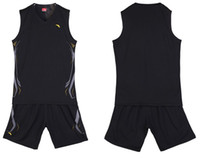 Wholesale Cheap Anta Basketball Training Jerseys with Shorts Black