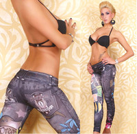 Wholesale Autumn korean Faux Denim Jeans Point Jeggings Black and Blue Color Comfortable and Soft Cotton