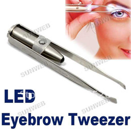 Wholesale New Make Up LED light Eyelash Eyebrow stainless steel Tweezers Hot Gift