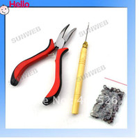 wooden hook - DIY Feather Hair Extension Kit Tool With Pliers wooden handle Hook Micro Beads