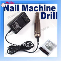 Wholesale Professional Electric Nail Drill Manicure Pen Machine Kit Bits Copper Red