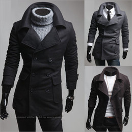 Wholesale Men s double breasted outerwear trench coats Fashion large turndown collar Wool overcoat