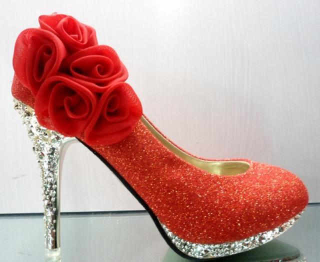 Women'S Red And Gold Waterproof High Heels Shoes Wedding Bridal ...