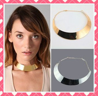 Wholesale 8pcs Personality punk wind jewelry Metal Collar Necklaces Gold and Silver Short Choker Neckline