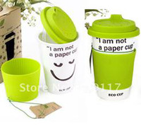 Wholesale I am Not a Paper Cup Ceramic Eco Cup Mug Coffee Cup Environmental Recycle Green Craft Gift