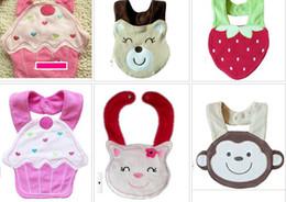 Wholesale Cotton baby bib cartoon babies bibs flower monkey duck fish cake frog butterfly infant saliva towel