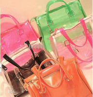 jelly bag - Women s Transparent handbag Sprkling jelly Boston bag Fluorescent color candy clear shoulder bag
