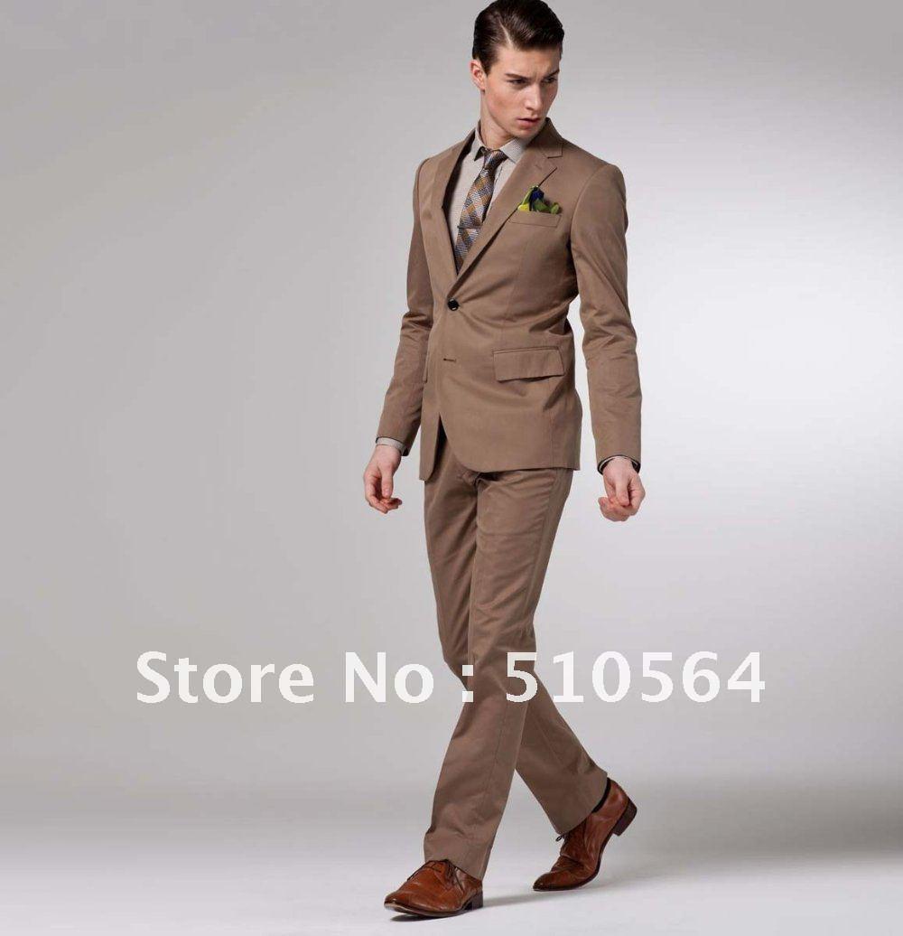 Mens khaki jacket casual - Free Shipping Cotton Casual Slim Suit Custom Made Men Two Botton Jacket Dark Khaki Casual Suit