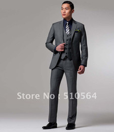 Wholesale Tailor made high quality s wool Men Business grey suit jacket pants