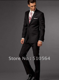 Wholesale Fashion high quality Wool Formal Custom made men Business suit Black Suit