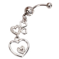Wholesale US Seller Five Heart Shape Curved Barbell Navel Belly Button Ring Transparent Alloy Rhinestone