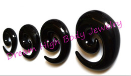 Newest Ear Expander Sprial Ear Taper Large Size 14-20mm Black Acrylic Fashion Body Piercing Jewelry