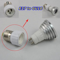 Aluminum adapter e27 to gu10 - 30pcs led lamp bases gu10 socket e27 to gu10 adapter converter base holder socket