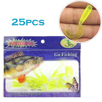 Wholesale 25pcs Soft Lures cm length one tail grubs warm bait new fishing lure tackle tools RR29