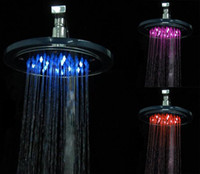 Wholesale Big Promotions New Design Temperature Control Colorful LED Shower Head Via DHL