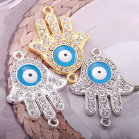 Wholesale Bronze alloy hand hamsa Evil eye loose beads Drip oil bracelets Jewelry connector