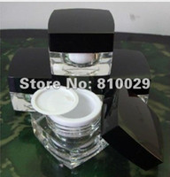 Wholesale ml black cap square acrylic jar cosmetic container cream jar