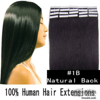 Wholesale 16 quot quot Human PU EMY Tape Skin Hair Extensions amp g B off black sets