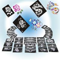 al por mayor kit de plantilla de arte-Diseño de la plantilla del tatuaje del brillo para la pintura del arte de cuerpo, 50 hojas, diseños mezclados fuente PH-D02 * kit de la plantilla del brillo 50 kits del tatuaje del brillo