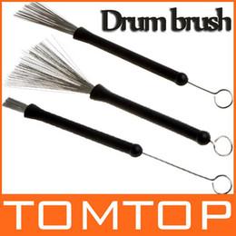 Wholesale Retractable Metal Steel Wire Strands Drum brush Brushes Sticks Loop End for drum set I118
