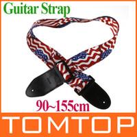 Guitarra acústica de nylon Baratos-La correa ajustable de la hebilla de la guitarra eléctrica acústica de la bandera americana de las correas de impresión I120