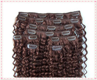 Wholesale 6mm curly Brazilian human virgin hair clip in hair weft loose wave cilp in hair