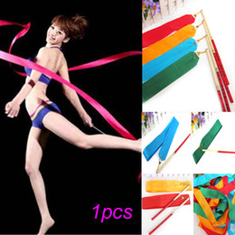 Wholesale 10pcs M Gym Dance Ribbon Rhythmic Art Gymnastic Streamer Baton Twirling Rod Colors