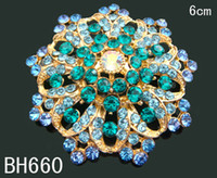 Wholesale Hot Sale Women s zinc alloy rhinestone flower brooch rhinestone costume brooch wedding jewelry mixed color BH660