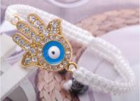 Unisex beaded string bracelet - gold tone hand evil eye hamsa connector kabbalah bracelet white string beads charms jewelry