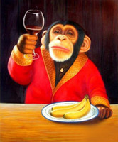 Wholesale Monkey and wine banana High Quality Hand Painted Animal Art oil Painting On Canvas in different measurements versions