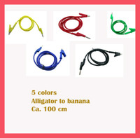 yellow, red, green, blue, black   High Voltage Cable Test Alligator clips test leads to Banana Plug cable 100 cm 5 colors