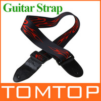 Jacquard + Leather acoustic guitar strap leather - Adjustable Buckle Electric Guitar strap Acoustic Straps Red Flame Print I122