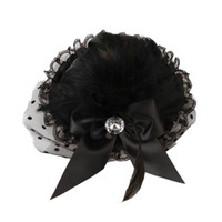 Wholesale US Seller x Inch Bow Feather Lace Hair Clip Mini Top Hat Black