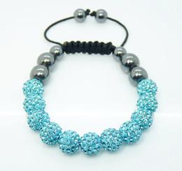 Hit Parade Auquamarine 11*10mm Shining Disco Ball Crystal Beads Hematite Ball Bracelet 10pcs