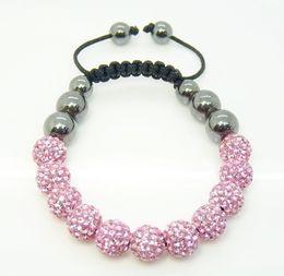 Fashion Jewelry 12pcs 10mm Pink Micro Pave Disco Ball Crystal Beads Hematite Ball Bracelet