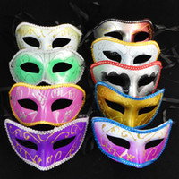 Wholesale Venice half face mask halloween masquerade mask Half face Gold Powder flower around party masks